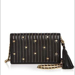 Tory Burch STAR STUD FLAT WALLET CROSSBODY BLACK